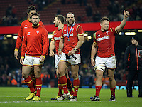 Jamie Roberts of Wales (C) with team mate Jonathan Davies (R) thank home supporters after the RBS 6 Nations Championship rugby game between Wales and Scotland at the Principality Stadium, Cardiff, Wales, UK Saturday 13 February 2016