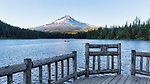 Mount Hood and fishing pier, Trillium Lake, Mt.Hood National Forest, Oregon