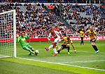 Nederland, Amsterdam, 19 april 2015<br /> Eredivisie<br /> Seizoen 2014-2015<br /> Ajax-NAC Breda (0-0)<br /> Anwar El Ghazi van Ajax schiet tegen Jelle ten Rouwelaar, keeper (doelman) van NAC Breda op.