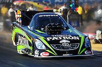 Oct. 14, 2011; Chandler, AZ, USA; NHRA funny car driver Alexis DeJoria during qualifying for the Arizona Nationals at Firebird International Raceway. Mandatory Credit: Mark J. Rebilas-