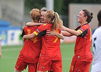 Belgium A - North Korea friendly game at Koksijde KVV Stadium - Belgie - Noord Korea :  vreugde bij Tessa Wullaert en Laurence Marchal .foto David Catry / Joke Vuylsteke / Vrouwenteam.be