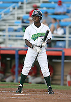 Marcus Crockett of the Jamestown Jammers, Class-A affiliate of the Florida Marlins, during New York-Penn League baseball action.  Photo by Mike Janes/Four Seam Images
