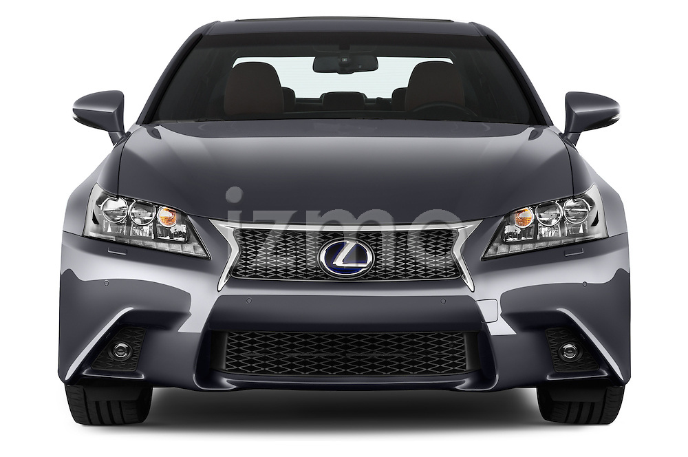 Car photography straight front view of a 2014 Lexus GS 300H Hybrid F Sport Line 4 Door Sedan 2WD Front View