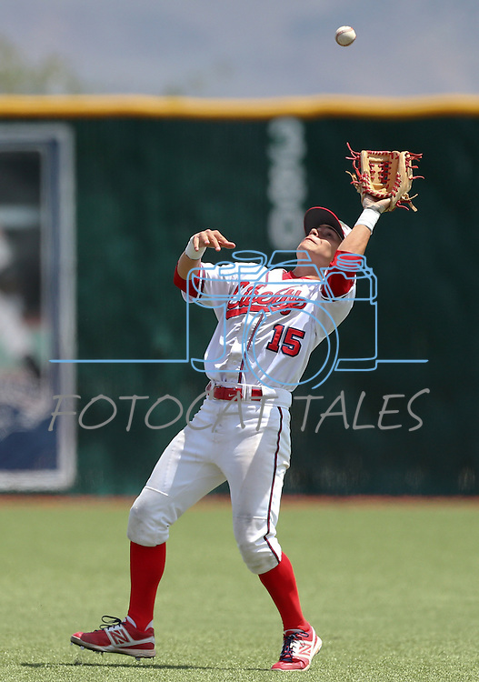Liberty's Ethan Ibarra makes a catch against Centennial in the NIAA Division I state baseball championship game, in Reno, Nev., on Saturday, May 24, 2014. Liberty defeated Centennial 5-3 to win the title. (Las Vegas Review-Journal, Cathleen Allison)