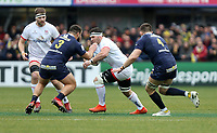 11 January 2020; Marcell Coetzee of Ulster is tackled by Rabah Slimani during the Heineken Champions Cup Pool 3 Round 5 match between ASM Clermont Auvergne and Ulster at Stade Marcel-Michelin in Clermont-Ferrand, France. Photo by John Dickson/DICKSONDIGITAL