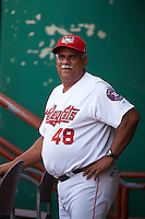 Tri-City ValleyCats manager Ed Romero (48) in the dugout before a game against the Brooklyn Cyclones on September 1, 2015 at Joseph L. Bruno Stadium in Troy, New York.  Tri-City defeated Brooklyn 5-4.  (Mike Janes/Four Seam Images)