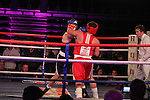 """Graham Hughes """"Thee President"""" (black) sponsored by Outsource and Mark """"Bone Crusher"""" McGowan (red) sponsored by Scholars Townhouse Hotel taking part in Drogheda and District, """"Battle of the Barbican"""" White Collar Boxing Event in aid of the Des Smyth Foundation...(Photo credit should read Jenny Matthews www.newsfile.ie)....This Picture has been sent you under the conditions enclosed by:.Newsfile Ltd..The Studio,.Millmount Abbey,.Drogheda,.Co Meath..Ireland..Tel: +353(0)41-9871240.Fax: +353(0)41-9871260.GSM: +353(0)86-2500958.email: pictures@newsfile.ie.www.newsfile.ie."""