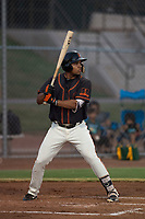 AZL Giants Black left fielder Franklin Labour (49) at bat during an Arizona League game against the AZL Athletics at the San Francisco Giants Training Complex on June 19, 2018 in Scottsdale, Arizona. AZL Athletics defeated AZL Giants Black 8-3. (Zachary Lucy/Four Seam Images)