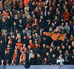 Dundee Utd chairman Stephen Thompson in with the fans in the rear section of the Broomloan Road stand