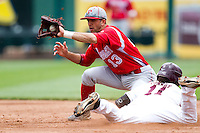Jason Leblebijian (13) of the Bradley Braves attempts to tag out Aaron Conway (11) of the Missouri State Bears at second base during a game against the Missouri State Bears on May 13, 2011 at Hammons Field in Springfield, Missouri.  Photo By David Welker/Four Seam Images