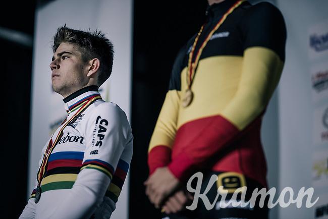 World Champion Wout Van Aert (BEL/Cibel-Cebon), surprisingly beaten by Toon Aerts (BEL/Telenet Fidea Lions) <br /> <br /> Elite Men's Race<br /> Belgian National CX Championschips<br /> Kruibeke 2019