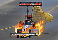 Jul. 25, 2009; Sonoma, CA, USA; NHRA top fuel dragster driver Cory McClenathan blows an engine during qualifying for the Fram Autolite Nationals at Infineon Raceway. Mandatory Credit: Mark J. Rebilas-