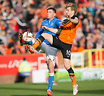 Dundee United v St Johnstone...27.09.14  SPFL<br /> Michael O'Halloran and Stuart Armstrong<br /> Picture by Graeme Hart.<br /> Copyright Perthshire Picture Agency<br /> Tel: 01738 623350  Mobile: 07990 594431
