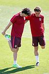 Atletico de Madrid's Tiago Mendes (l) and Antoine Griezmann during training session. April 11,2017.(ALTERPHOTOS/Acero)