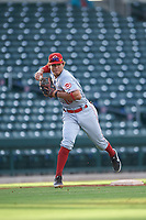 AZL Reds third baseman Sebastian Almonte (16) throws to first base during an Arizona League game against the AZL Cubs 2 on July 23, 2019 at Sloan Park in Mesa, Arizona. AZL Cubs 2 defeated the AZL Reds 5-3. (Zachary Lucy/Four Seam Images)