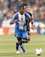Philadelphia Union midfielder Michael Lahoud (13) on the attack. In a Major League Soccer (MLS) match, the New England Revolution tied Philadelphia Union, 0-0, at Gillette Stadium on September 1, 2012.