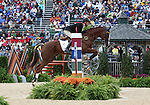 Frank Ostholt and Mr. Medicott of Germany compete in the final stadium jumping round of the FEI  World Eventing Championship at the Alltech World Equestrian Games in Lexington, Kentucky.