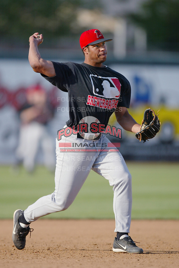 Daryl Clark of the High Desert Mavericks takes infield before a California League 2002 season game against the San Bernardino Stampede at San Manuel Stadium, in San Bernardino, California. (Larry Goren/Four Seam Images)