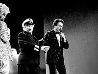 July 1985 File Photo - Capitaine Bonhomme (M) with MC Dominique Michel (L) and Michel Drucker (R)   at  Festival Juste Pour Rire Gala