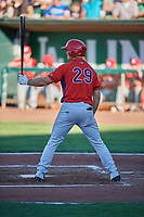 Cole Taylor (29) of the Orem Owlz bats against the Ogden Raptors at Lindquist Field on June 19, 2018 in Ogden, Utah. The Raptors defeated the Owlz 7-2. (Stephen Smith/Four Seam Images)