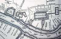 London: Historical --James Elmes' Chart, 1837. 1. The Tower and St Katherine and Western Dock.   Reference only.
