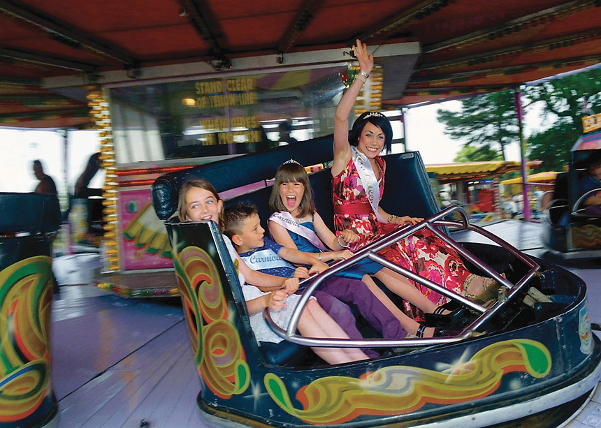 """Rose Queen of Attleborough, Ashlee Mead accompanied by Princess Amy Tebble and Prince Louis Thorpe.<br /> <br /> """"The Queen and her court shall be entitled to free rides on the funfair on the day of the carnival."""""""