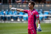 SAN JOSE, CA - APRIL 24: JT Marcinkowski #1 of the San Jose Earthquakes shouts directions to his defense during a game between FC Dallas and San Jose Earthquakes at PayPal Park on April 24, 2021 in San Jose, California.