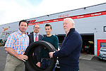 "Bridgestone and Healy's Tyres in Naas team up with jockey Bryan Cooper<br /> <br /> Bridgestone Ireland and Healy's Tyre and Service Centre in Naas have become official tyre suppliers to national hunt jockey and emerging star Bryan Cooper.<br /> Healy's recently fitted Brian's car with Bridgestone S001 Potenza tyres at its First Stop Centre on the Monread Road in Naas. Tom Healy, Proprietor of Healy's said ""We are delighted to be associated with Kildare jockey Bryan Cooper who has already had significant success in his career. We wish Bryan every success for the coming season"".<br /> ends<br /> <br /> For further information contact: Colm Conyngham, Bridgestone Ireland +353 87 2362186<br /> <br /> Pictured Tom Healy (L) Brian Cooper (C) with the Bridgestone S001 Potenza tyres that were fitted to Brians car to keep him firmly on the road, Also Pictured with Colm Conyngham Consumer Marketing and Public Relations Manager Bridgestone Ireland (second Left) and John Corcoran Healys Tyres (R).<br /> <br /> Picture www.newsfile.ie"