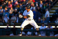 Bradenton Marauders center fielder Elvis Escobar (16) squares to bunt during a game against the Fort Myers Miracle on April 9, 2016 at McKechnie Field in Bradenton, Florida.  Fort Myers defeated Bradenton 5-1.  (Mike Janes/Four Seam Images)