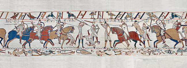 Bayeux Tapestry scene 52:  Harpld brother, Duke of Lewine and Byrd is killed in the Battle of Hastings. BYX52