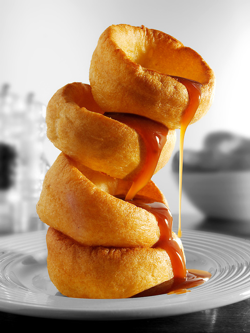 Single Yorkshire puddings and onion gravy