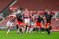 20th February 2021; Bet365 Stadium, Stoke, Staffordshire, England; English Football League Championship Football, Stoke City versus Luton Town; James McClean of Stoke City takes a shot on goal