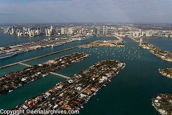 aerial photograph Hibiscus and Palm island toward port skyline Miami Florida