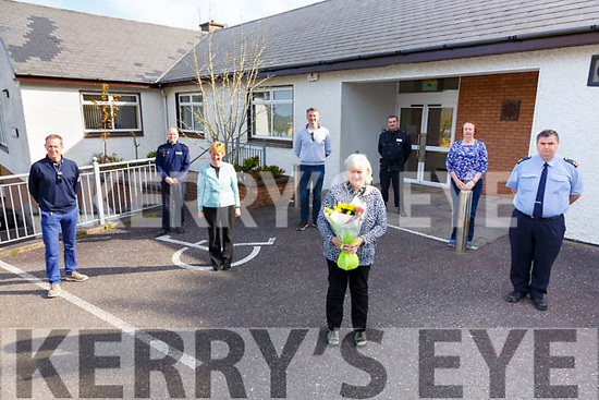 Mary O'Sullivan front centre hung up her gloves for the final time as Custodian at Cahersiveen Garda Station on Thursday pictured here with l-r; Karl Griffin, Cian Duffey, Suzanne Daly, Tony Crockett, Mary O'Sullivan, James Cronin, Noreen Brennan & Tomás Hurley.