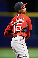 Boston Red Sox Stanley Espinal (15) during an instructional league game against the Tampa Bay Rays on September 24, 2015 at Tropicana Field in St Petersburg, Florida.  (Mike Janes/Four Seam Images)