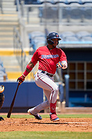FCL Twins outfielder Carlos Aguiar (15) bats during a game against the FCL Rays on July 20, 2021 at Charlotte Sports Park in Port Charlotte, Florida.  (Mike Janes/Four Seam Images)