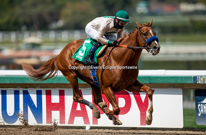 March 13, 2021: Triple Tap with Flavien Prat aboard breaks his maiden at Santa Anita Park in Arcadia, California on March 13, 2021. Evers/Eclipse Sportswire/CSM