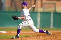 High Point Panthers relief pitcher Cas Silber (29) delivers a pitch to the plate against the Bowling Green Falcons at Willard Stadium on March 9, 2014 in High Point, North Carolina.  The Falcons defeated the Panthers 7-4.  (Brian Westerholt/Four Seam Images)