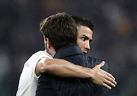 """Calcio, Serie A: Juventus - Caglairi, Turin, Allianz Stadium, November 3, 2018.<br /> Juventus' Cristiano Ronaldo (l) greets Juventu's President Andrea Agnelli (r) as he gives the celebrative jersey """"400"""" goals prior to the Italian Serie A football match between Juventus and Cagliari at Torino's Allianz stadium, November 3, 2018.<br /> UPDATE IMAGES PRESS/Isabella Bonotto"""