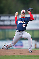 Hagerstown Suns starting pitcher Andrew Lee (47) in action against the Kannapolis Intimidators at Kannapolis Intimidators Stadium on May 5, 2016 in Kannapolis, North Carolina.  The Suns defeated the Intimidators 7-0.  (Brian Westerholt/Four Seam Images)