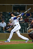 Salt River Rafters third baseman Emilio Guerrero (43) at bat during an Arizona Fall League game against the Scottsdale Scorpions on October 13, 2015 at Salt River Fields at Talking Stick in Scottsdale, Arizona.  Salt River defeated Scottsdale 5-3.  (Mike Janes/Four Seam Images)
