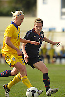 US National Team player Heather O'Reilly defends against Sweden during a March 1, 2010 game in Ferreiras, Portugal during the Algarve Cup.