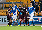 St Johnstone v Hearts…10.08.16..  McDiarmid Park…BetFred Cup<br />Callum Paterson celebrates his goal with Arnaud Djoum<br />Picture by Graeme Hart.<br />Copyright Perthshire Picture Agency<br />Tel: 01738 623350  Mobile: 07990 594431