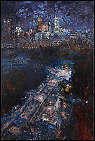 """Nocturne"" 2007 oil on canvas (72 X 48) by painter Marco Sassone from his exhibition ""Toronto"" April 4 - 26, 2008 at Toronto's Odon Wagner Contemporary. Sassone, who moved to Toronto in 2005, depicts Toronto urban landscapes and cityscapes from high-rise vantage points and street perspectives in the exhibited collection. (CNW Group/Marco Sassone)"