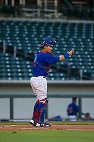 AZL Cubs catcher Kevin Zamudio (4) on defense during a game against the AZL Brewers on August 6, 2017 at Sloan Park in Mesa, Arizona. AZL Cubs defeated the AZL Brewers 8-7. (Zachary Lucy/Four Seam Images)