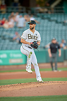 Salt Lake Bees starting pitcher Patrick Sandoval (30) delivers a pitch to the plate against the Sacramento River Cats at Smith's Ballpark on July 18, 2019 in Salt Lake City, Utah. The Bees defeated the River Cats 9-6. (Stephen Smith/Four Seam Images)
