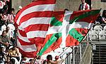 Athletic de Bilbao's supporters with the basque country flag during La Liga match, September 28, 2008. (ALTERPHOTOS/Alvaro Hernandez)