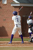 Brady Pearre (2) of the High Point Panthers at bat against the Bryant Bulldogs at Williard Stadium on February 21, 2021 in  Winston-Salem, North Carolina. The Panthers defeated the Bulldogs 3-2. (Brian Westerholt/Four Seam Images)