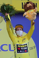 12th September 2020; Lyon, France;  TOUR DE FRANCE 2020- UCI Cycling World Tour under Virus Outbreak. Stage 14 from Clermont-Ferrand to Lyon on the 12th of September 20220, Lyon , France. Primoz Roglic Slovenia Team Jumbo - Visma  in yellow on the podium wearing a mask.