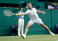 1st July 2021; Wimbledon, SW London. England; Wimbledon Tennis Championships, day 4;  Richard Gasquet of France competes during the mens singles second round match between Roger Federer of Switzerland and Richard Gasquet of France at Wimbledon Championship in London, Britain, on July 1, 2021.  SPBRITAIN-LONDON-TENNIS-WIMBLEDON-DAY 4 HanxYan